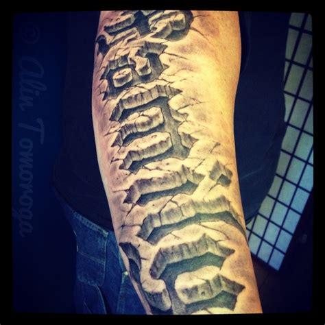 Tattoo 3d Rock | family 3d rock texture tattoo on lower arm 3d 3 tat
