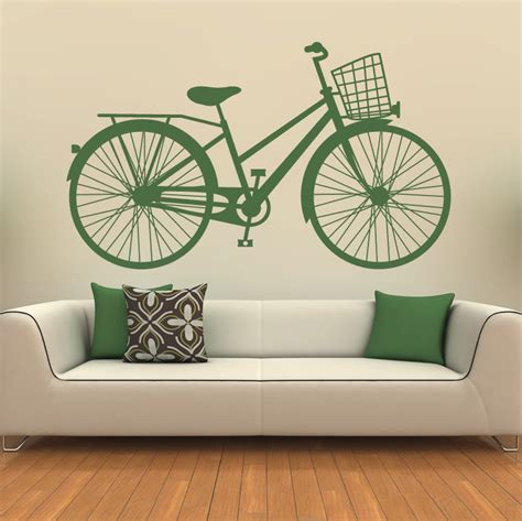 Wall Stickers Art bicycle classic basket wall art sticker wall decals