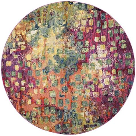 rugs 5 diameter safavieh monaco collection mnc225d modern abstract watercolor pink and multi area rug 5