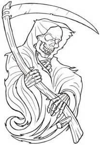 black outline grim reaper skeleton tattoo design