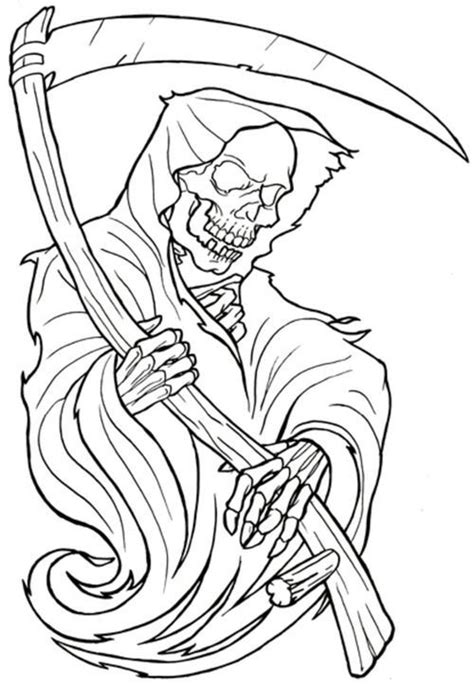 black outline grim reaper skeleton tattoo design