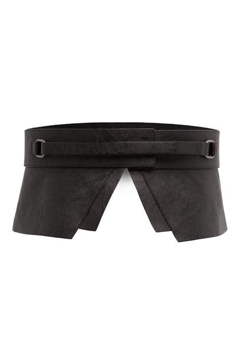 mango fauxleather peplum belt in black lyst
