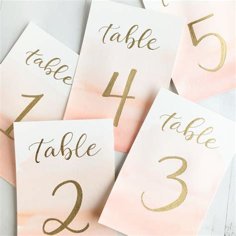 how to make table number cards watercolor and gold wedding table numbers custom by