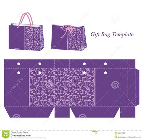 Gift Bag Cards For Baby Template by Gift Bag Template With Purple Floral Pattern Stock Vector