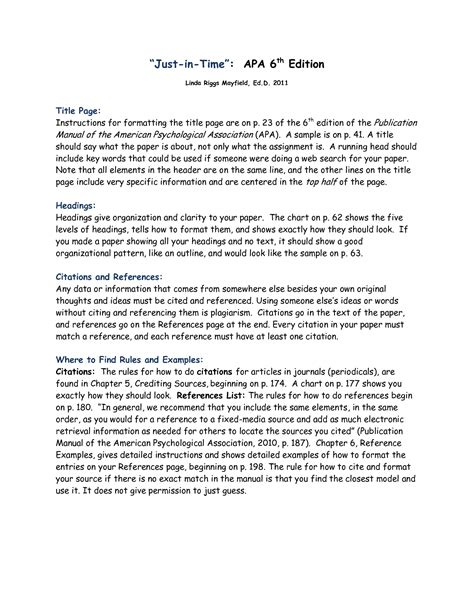 apa 6th edition template best photos of cover letter apa 6th edition apa format
