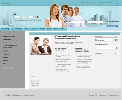 microsoft sharepoint templates for publishing company