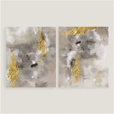 gold abstract painting golden horizon canvas wall with silver leaf