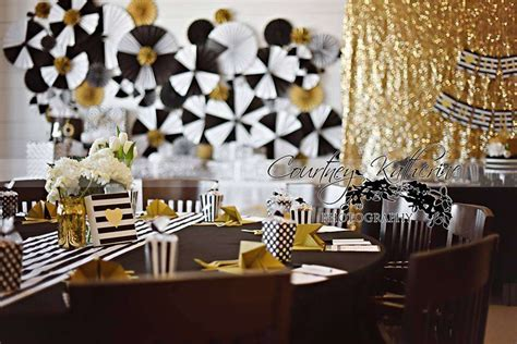 Black And White Themed Baby Shower by Black White Gold Baby Shower Ideas Photo 6 Of