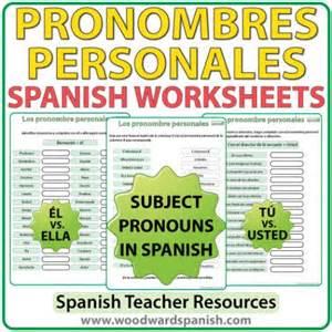spanish subject pronouns worksheets woodward spanish