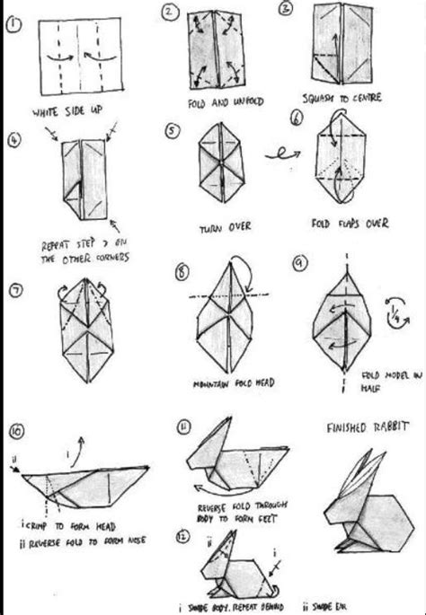 Origami Rabbit Diagram - origami rabbit origami origami rabbit and