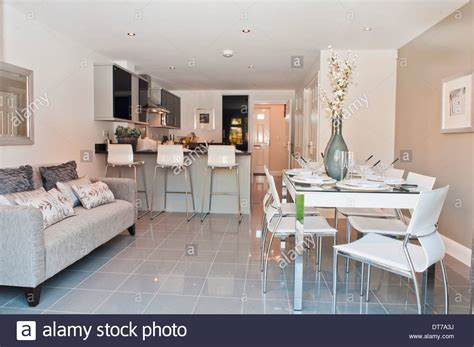 sofa in kitchen diner show home kitchen diner with sofa stock photo royalty