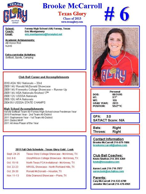 softball player profile template downloadable softball profile sheet templates pictures to