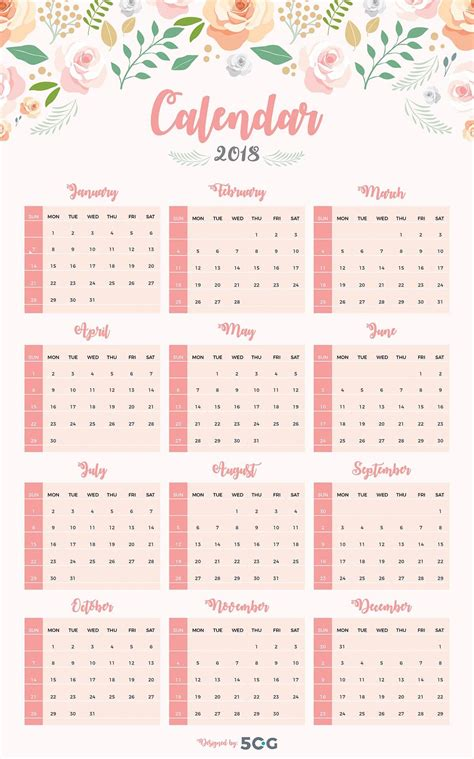 printable calendar 2018 design free one page 2018 printable wall calendar design template