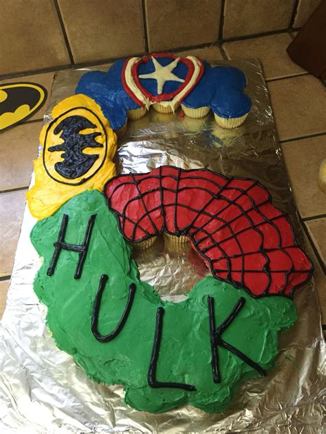 Superhero Cake Made From Cupcakes For A  Ee   Ee    Ee  Year Ee    Ee  Old Ee  S