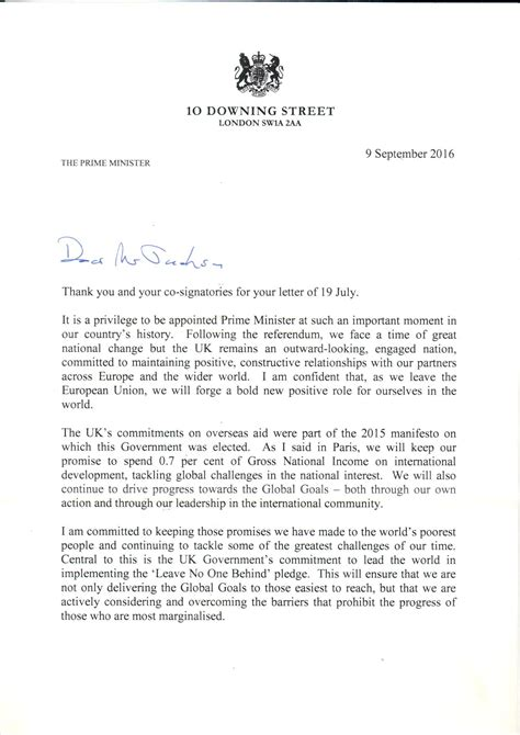 Response Letter From Minister The Prime Minister S Letter Bond
