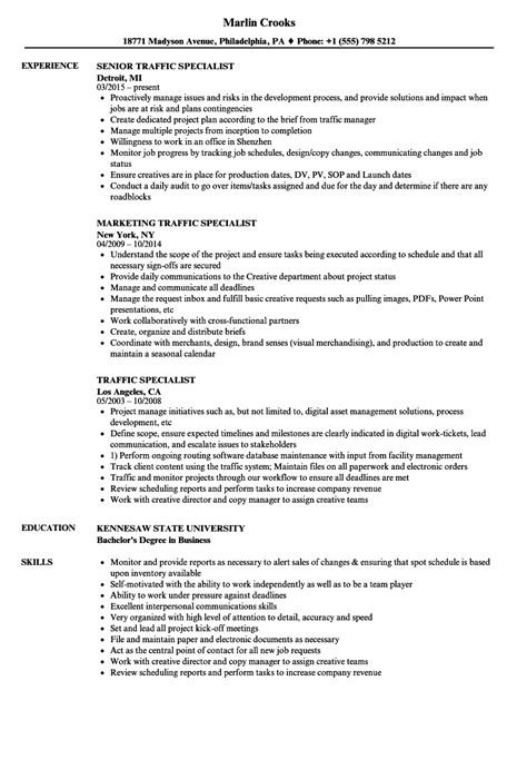 traffic specialist resume sles velvet