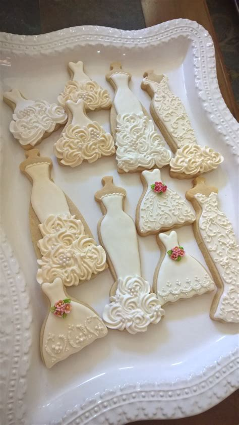 ecru and white wedding entourage dress cookies 10 bridal shower cookies wedding - Bridal Shower Giveaway Gifts