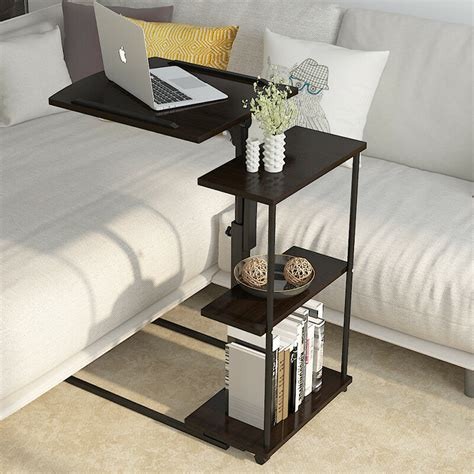 tier shelves adjustable laptop stand pc table desk sofa bedside tray rolling  ebay