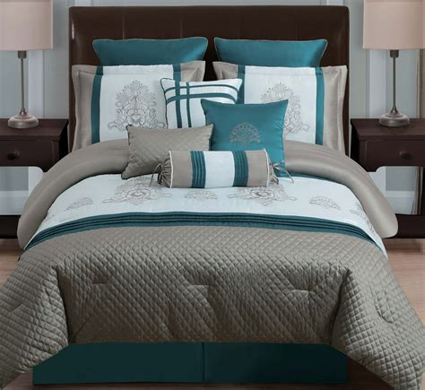 teal queen bedding sets dark teal comforter sets 10 piece queen avalon taupe