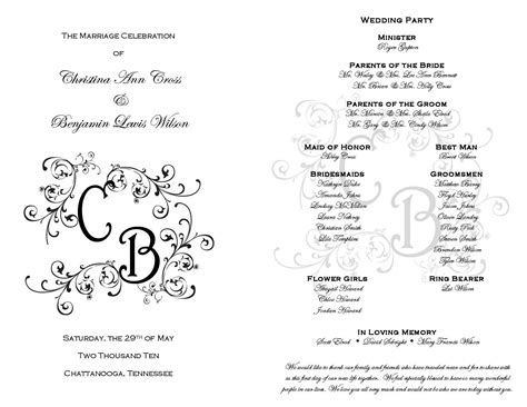 free wedding ceremony program template 9 best images of free printable wedding programs free
