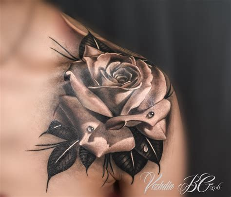 tattoo of a rose black and white pinteres