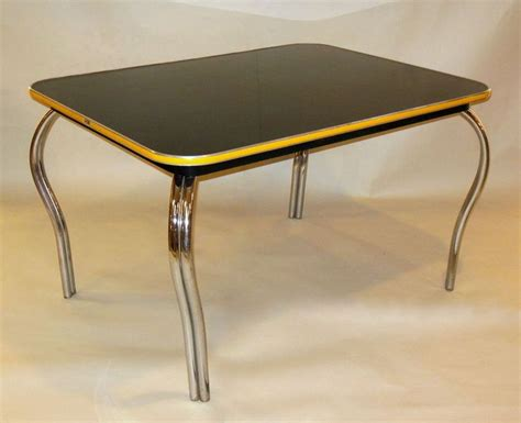 mid century deco black formica dining kitchen table w