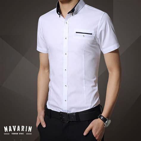 Promo Baju Keren Tahun Baru Kemeja Pendek Putih List Batik jual baru kemeja pria lengan pendek slim fit kekinian
