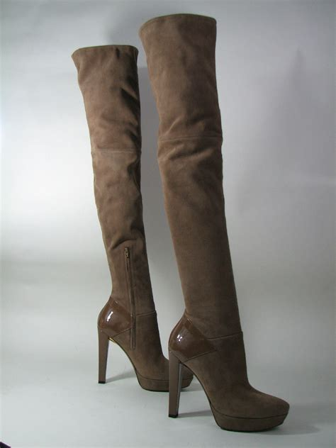 gucci thigh high platform boots brown suede patent