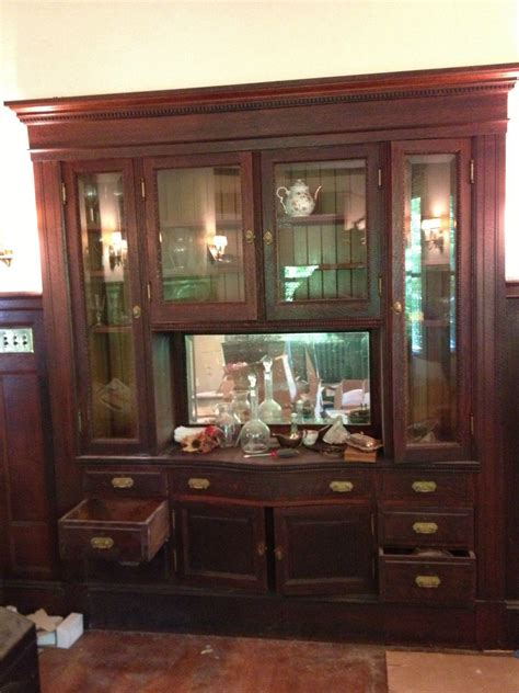 Victorian Built in Oak Cabinet Buffet China Cabinet