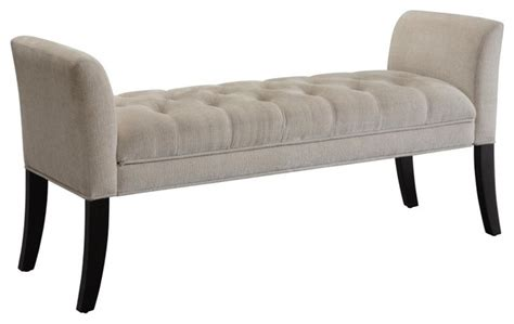 Modern Bedroom Bench Stewart Microfiber Upholstered Bench