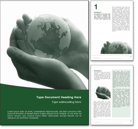nature templates for word royalty free fragile earth microsoft word template in green