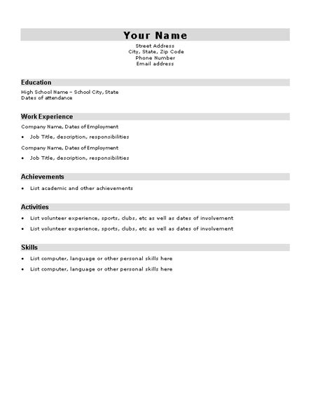 High School Student Resume Sle Resumes And Cv Templates Ready Made Office Templates Resume Templates Free For High School Students
