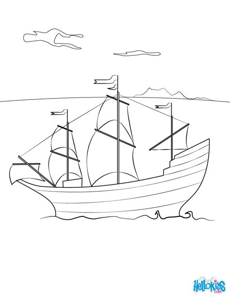 Mayflower Ship Coloring Page the mayflower ship coloring pages hellokids