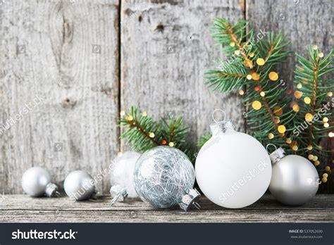 and white tree ornaments silver white ornaments tree stock photo