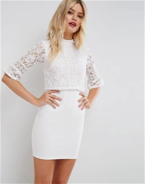 Mesh Mix Skater Dress W8741 White lace dresses black white lace dress styles asos