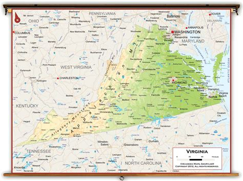 physical map of virginia virginia state physical classroom map from academia maps