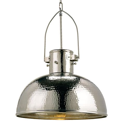 Dome Pendant Light Gurnsey Industrial Hammered Nickel Dome 1 Light Pendant Kathy Kuo Home