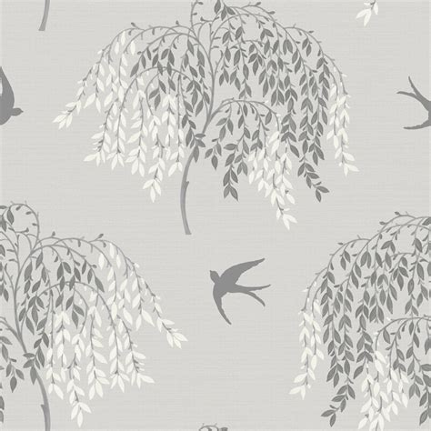 grey wallpaper with trees arthouse willow song tree leaf pattern bird motif glitter