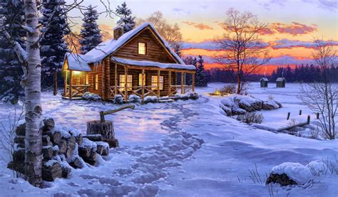 Log Cabin Paintings by Log Cabin Painting Free Wallpaper Free