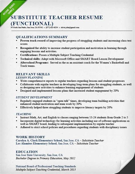 exles of teachers resume resume sles writing guide resume genius