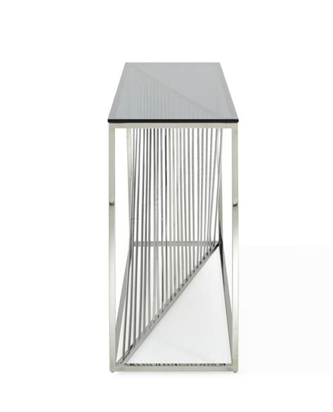 stainless steel console table modrest modern glass stainless steel console