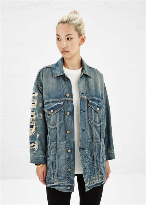 Selvedge Trucker Jacket r13 oversized trucker jacket selvedge shredded blue