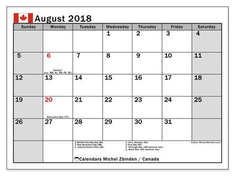 Canada Calendario 2018 Calendar August 2018 Canada