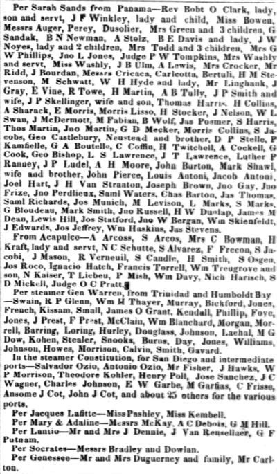 SS Sarah Sands, April 10, 1851. Passengers arriving in the