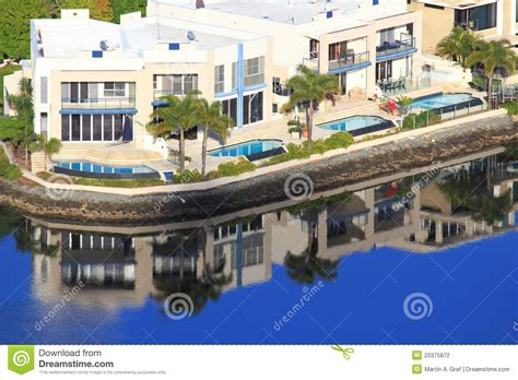 luxury waterfront homes stock photography image