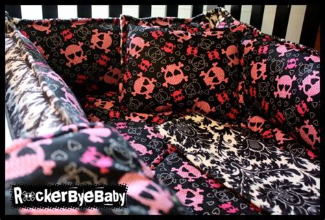 skull baby bedding custom 4 piece set punk baby crib bedding you choose the