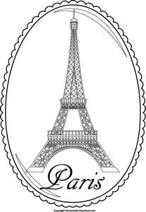 The Word Eiffel Tower Colouring Pages Page 2 sketch template
