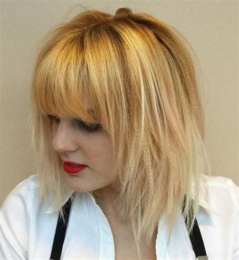 golden blonde long bob for women hairstyles weekly 25 best ideas about layered bob with bangs on pinterest