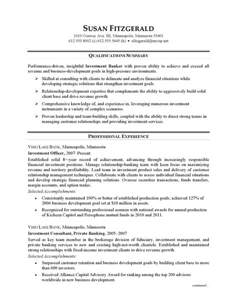 Resume Exle For Bank Resume Exle Investment Banking Careerperfect