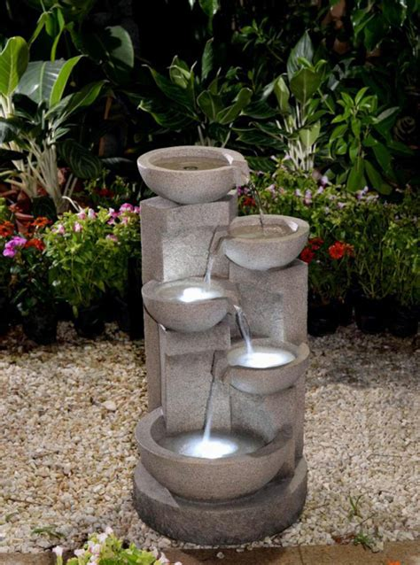 Lighted Outdoor Water Fountains 29 5 Quot Lighted Serengeti Envirostone Outdoor Garden Water Yellow Leds Walmart
